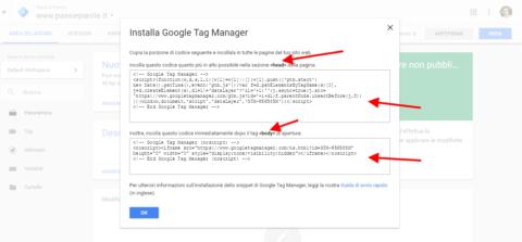 seleziona il codice tag manager e incolla seguendo le istruzioni nel plugin di word press scaricato di claudio lombardi esperto siti web wordpress