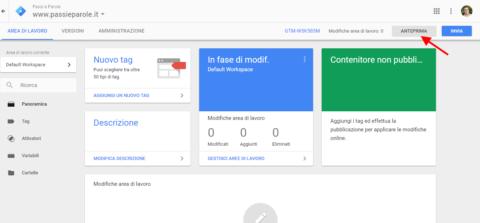 vai su modalità anteprima all interno di google tag manager di claudio lombardi consulente per progetti web
