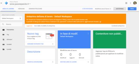 ecco la schermata in tag manager che appare dopo aver cliccato su anteprima di claudio lombardi agenzia web marketing roma