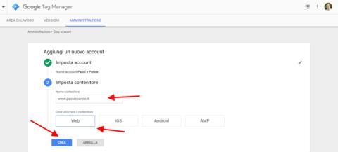 scrivi il nome e seleziona dove vuoi impostare il codice e crea il progetto tag manager di claudio lombardi esperto adwords analytics e tag manager