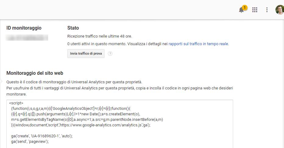analytics codice di monitoraggio da installare sul sito per il controllo dei risultati del sito